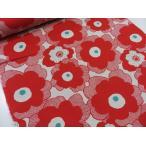 綿麻 マリメッコ風大きな花柄 レッド赤 キャンバス生地