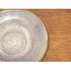 小鹿田焼 7寸皿 (飛び鉋、縁付き)白  柳瀬朝夫作