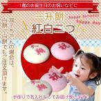 一升餅 名入れ 1歳お祝い 紅白タイプ 丸2つ (2つで約2kg) 風呂敷セット 保存料なしの無添加 双子ちゃんに