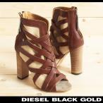 ディーゼルブラックゴールド DIESEL BLACK GOLD ブーティー 靴 レディース 牛革 本革 レザー コンビ オープントゥ チャンキーヒール ブーサン EMMA-HB