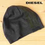 ディーゼル DIESEL ニットキャップ 帽子 メンズ ウール混 牛革レザーパッチ ハイゲージニット ニット帽 K-VOLPETTA