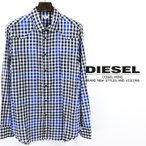 ディーゼル DIESEL カジュアルシャツ メンズ 長袖 薄手 ラメ糸混 ブロックチェック柄 SISALIKO