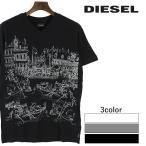 ディーゼル DIESEL Tシャツ メンズ 風景プリント Vネック 薄手 コットン 半袖 T-RETTA