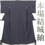 本場結城紬 重要無形文化財指定 証紙付き 濃紺に竹のような縞【送料無料】【中古】