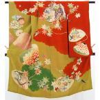 アンティーク子供着物 黄緑×朱橙 刺繍も入った大きな貝の柄【送料無料】【中古】