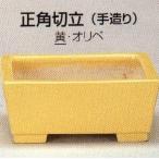 植木鉢 陶器 常滑焼  【鴻陽陶園】手造り正角切立盆栽鉢(5号_黄)