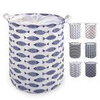 WANDF ランドリーバスケット 洗濯かご 折り畳み 手提げ付き 巾着 撥水加工 綿麻製 (A-魚)