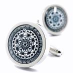MFYS Jewelry ファッション アクセサリー クラシック 花デザイン 幾何学模様 紳士 メンズ カフス専用収納ケース付き (B)