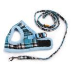 韓国風格子縞保温保護型ハーネスとリードセット  小型犬中型犬用胴輪 散歩用品