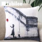 バンクシー Banksy クッションカバー Cushion Cover 北欧デザイン 45×45cm 送料無料 リネン 天然の麻で出来たハンドメイド ハートバルーンガール