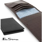ベンシャーマン ギンガムチェック エンボスド 本革レザー 二つ折り カードケース メンズ