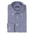 ドレスシャツ/長袖/メンズ/ボタンダウンカラードレスシャツ ギンガムチェック 〔EC・CLASSIC SLIM-FIT〕 ネイビー×ホワイト