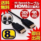 ショッピングhdmiケーブル HDMIケーブル 8m HDMIver1.4 金メッキ端子 High Speed HDMI Cable ブラック ハイスピード 4K 3D イーサネット対応 液晶テレビ ブルーレイレコーダー DVDプレーヤ