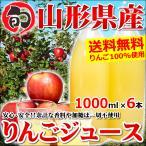 ショッピングフルーツ 山形県産or青森県産 りんごジュース ストレート 100% 1000ml×6本 送料無料 お取り寄せ
