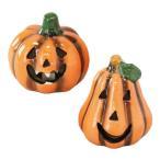 ハロウィン LED パンプキン Sサイズ 2種セット(かぼちゃ型、洋梨型)/置き物 陶器 インテリア ハロウィン パーティ デコレーション オブジェ