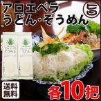 アロエベラうどん と そうめん 各10把 送料無料 沖縄 麺 アロエ 珍しい 希少 美容 健康 家庭用 まとめ買い