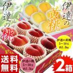 桃 もも モモ 黄桃 おうとう 福島県産 伊達の桃&黄桃 2箱セット 各約1.5kg(1箱:5〜10玉)送料無料