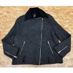 FOREVER 21 フォーエバー21 Mサイズ レディース ジップジャケット 裏地あり 同色メランジ 長袖 ジップポケット グレー×ブラック 灰色×黒