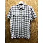 Levi's リーバイス M メンズ ウエスタンシャツ チェック ドットボタン 両胸ポケット ラウンドテール 半袖 綿100% 青×ベージュ×ピンク×白