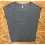 FOREVER21 フォーエバー21 Mサイズ レディース Tシャツ ストレッチ ラグラン 肩にスタッズ 丸首 半袖 綿×ポリウレタン ヘザーグレー