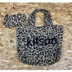 Kitson キットソン トートバッグ ミニポーチ付き レオパード ヒョウ柄 ロゴプリント かばん カバン ベージュ×ダークブラウン