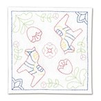 [メール便で送料198円] オリムパス 刺し子キット 北欧モチーフの花ふきん ダーラナホース SK-327