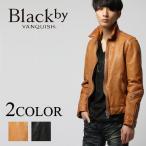 ブラックバイヴァンキッシュ Black by VANQUISH メンズ ベジタブルシープレザーシングルライダースジャケット