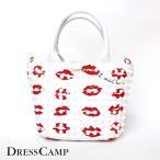ショッピングドレス DRESSCAMP ドレスキャンプ バッグ TRIANGULAR リップ柄 スタッズ 2WAYミニトートバッグ ホワイト レディース
