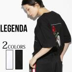 LEGENDA レジェンダ FLAME HAND WRITE ROSE刺繍クルーネックTシャツ ユニセックス フリーサイズ 大きいサイズ メンズ