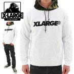 X-LARGE(エクストララージ) STANDARD LOGO PO HD(01164219)ASH プルオーバーパーカー ホワイト 白 迷彩柄