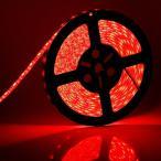 ショッピングLED LEDテープライト 24v 5m 防水 赤レッド smd5050 高輝度SMD ベース白 切断可能両面テープ加工