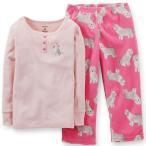 カーターズ carter's 女の子用ベビーピンクリボンわんわん透かし編み長袖&犬柄フリースパンツパジャマ上下2点セット 寝巻き 薄ピンクスリープウェア