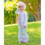 ラッフルバッツ RuffleButts 女の子用ベビーピンクチュールアクセントラッフル付きグレーフレアパンツ フリル付きパンツ 出産祝いプレゼント ボトムス