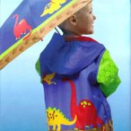 ステファンジョセフ 男の子用青恐竜ワールドカラフルレインコート 雨具 カッパ 通園 通学グッズ Stephen Joseph ジャケット
