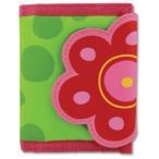 ステファンジョセフ 女の子用黄緑&ピンクお花のお財布 花柄小銭入れ 小物入れ ベビー用ポーチ さいふ ギフトプレゼント 水玉模様子供用財布