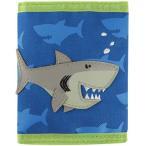 ステファンジョセフ 男の子用ブルー&黄緑シャークのお財布 青小銭入れ 青小物入れ ベビー用ポーチ さめデザインのさいふ サメ柄子供用財布