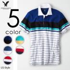 アメリカンイーグル メンズ 半袖 ポロシャツ ラガーシャツ ボーダー