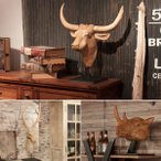 ハンティング トロフィー 剥製風 木製 ウッド 鹿 壁掛け 壁飾り 首 サイ トナカイ 牛 ウシ アニマルヘッド 動物 インテリア 玄関 リビング オブジェ