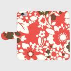 スマホ 手帳型 北欧 かわいい 花柄 花 フラワー 赤 白 レッド ホワイト カントリー スマホケース 手帳型 iPhone5 5s 6 6s 6Plus 6sPlus SE Android