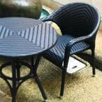 椅子 ひじ掛け 肘付き 編み込み オープンカフェ レストラン おしゃれ アジアン風 軽量 軽い 丈夫 耐水性 耐久性 屋外 ガーデニング テラス 屋上 庭 ベランダ