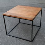 リビングテーブル 正方形 キューブ型 サイドテーブル ローテーブル アイアン ウッド 木製板 コーヒーテーブル カフェテーブル
