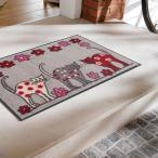 ラグマット ラグ 50×75cm ネコ 猫 赤 白 グレー 花柄 かわいい イラスト 玄関 キッチン リビング 屋内 屋外 バスマット お風呂場 トイレ