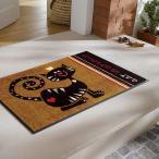 ラグ フロアマット 50×75cm ねこ キャラクラー 猫 イラスト 茶色 ネコ 英語 玄関 キッチン リビング 屋内 屋外 バスマット お風呂場 トイレ