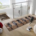 洗えるラグ ラグ ネコ 柄 猫 かわいい 60×180cm 長方形マット 玄関 ラグマット おしゃれ