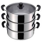 蒸し鍋 3段 蒸し器 鍋 三段蒸し鍋 ステンレス IH対応 30cm