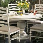 輸入家具アメリカ ダイニングテーブル 丸 ポーラディーン 996  アンティーク調 円形 伸長式 白 カントリー