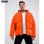 エイソス メンズ ジャケット オレンジ ASOS DESIGN puffer with hood in orange