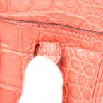 エルメス プリュムエラン28 アリゲーター ハンドバッグ ブーゲンビリア シルバー金具 □N:2010年