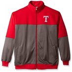 MLB Texas Rangers Men's Poly Fleece Yoked Track Jacket with Wordmark Logo, X-Large/Tall, Red/Gray 輸入品