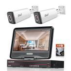 防犯カメラ 200万画素 モニター付きタイプ 2台セット 1TB HDD内蔵 POE給電カメラ 4CH 1080P 暗視撮影 動体検知 遠隔監視 IP67防水 屋外用